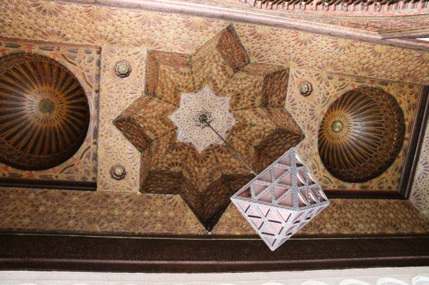 Intricate mosque ceiling on display in the Kasbah Museum